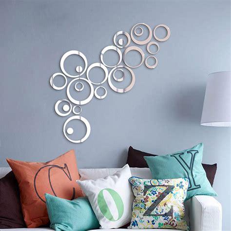 miroir mural chambre silver tone acrylic 3d mirror effect wall sticker circle