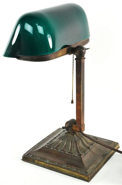 green desk l shade antique bankers l green cased glass shade emeralite no