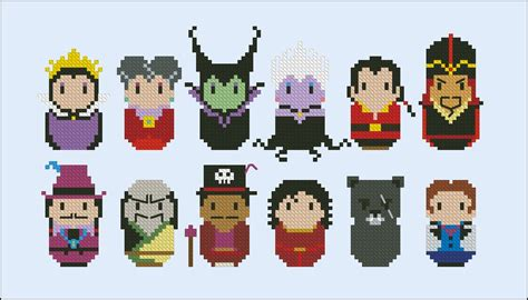 disney princess villains digital cross stitch pattern