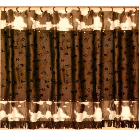 Cowhide Valance - cowhide print with cattle brands western shower curtain