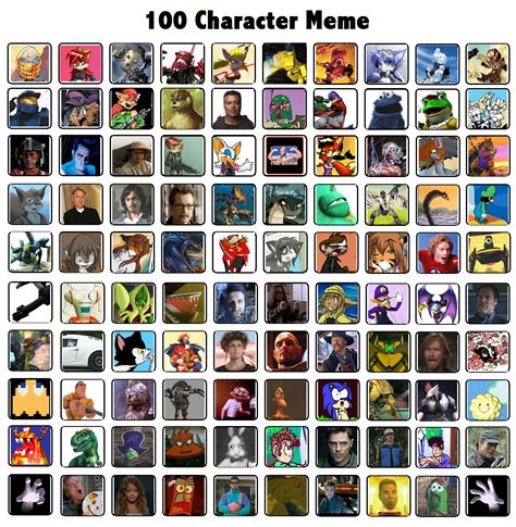 Memes Characters - 100 character meme by rylaktyrnda on deviantart