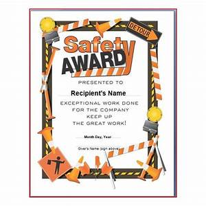 safety award certificates templates free school tattoo designs With safety recognition certificate template