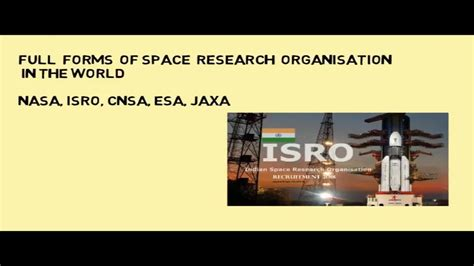full form of organisations full forms of space research organisations in the world