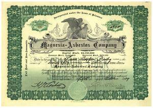 magnesia asbestos company stock certificate  ebay