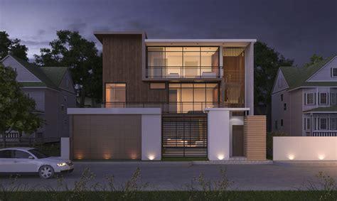 3d Model Modern Wood House Night Scene Cgtrader