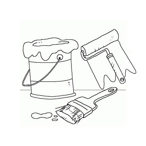 dessin pot de peinture pinceau coloriage bricolage pot de peinture rouleau et pinceau a imprimer gratuit