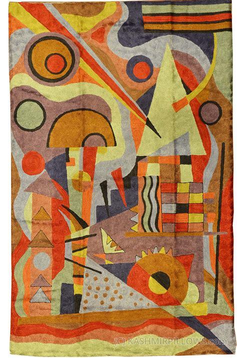 kandinsky composition silk rug wall tapestry embroidered 2 5ft x 4ft kashmir pillows