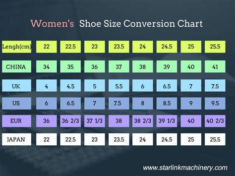 shoe size conversion chart starlink shoe making machine