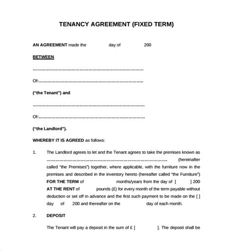 sample tenancy agreement template   documents