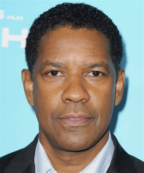 Denzel Washington Short Curly Casual Afro Hairstyle