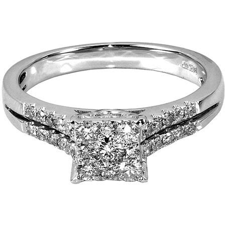 1 2 carat t w square 10kt white gold engagement ring walmart