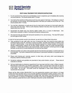 Root Canal Treatment Post Operative Instructions