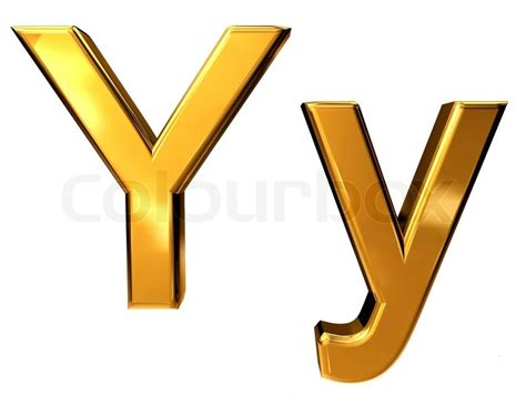 Gold letter Y upper case and lower case isolated on white