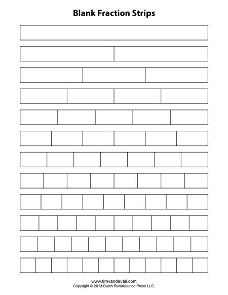 fraction strip templates for kids school math printables