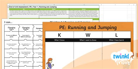 * New * Twinkl Move Pe  Y1 Running And Jumping Assessment Pack