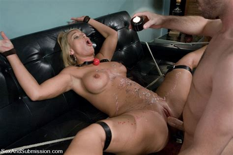 busty mellanie monroe in sexy lingerie gets her pussy drilled by dominating james deen