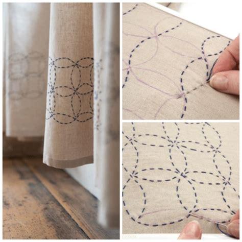 sencillo bordado  decorar una cortina