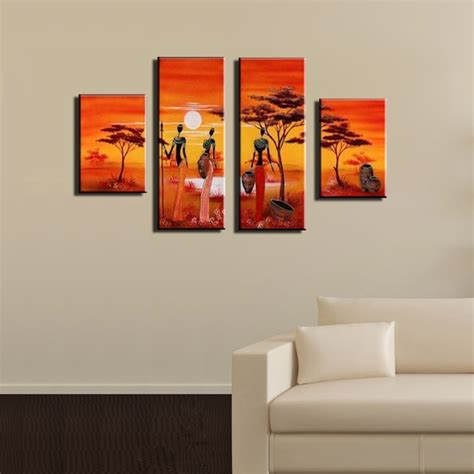 piece abstract modern panel canvas wall cheap african