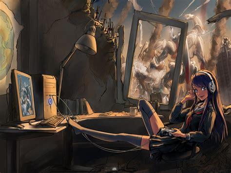 anime gamer girl wallpaper girl gamer image mod db