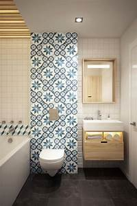 Carreaux Adhesif Salle De Bain : 1001 id es pour am nager une salle de bain en carreaux de ciment plein de charme ~ Melissatoandfro.com Idées de Décoration