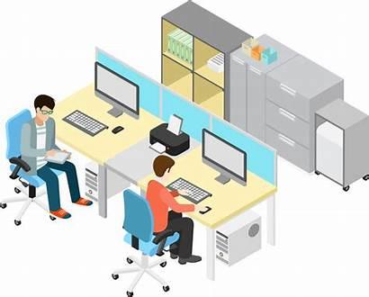 Office Vector Clipart Illustration Business Hq Desk