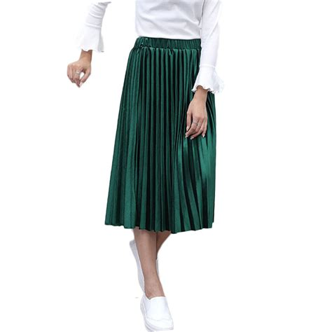 2016 Autumn Winter Velvet Skirt Fashion Long Warm Skirts High Waist Elastic Waist Pleated Skirt ...