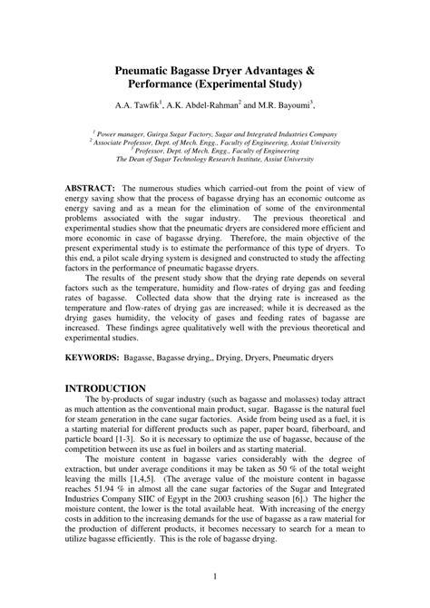 (PDF) Pneumatic Bagasse Dryer Advantages and Performance