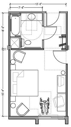 PLAN 2b: ACCESSIBLE 13 ft wide hotel room based on 2004