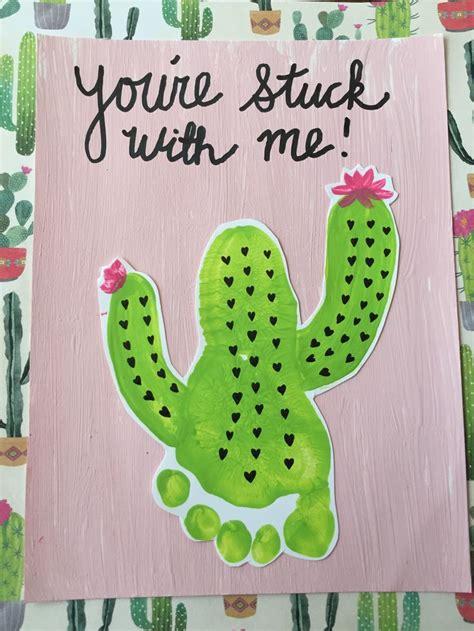 cactus footprint art fun valentine crafts classroom