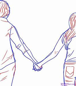 How to Draw People Holding Hands, Step by Step, Figures ...