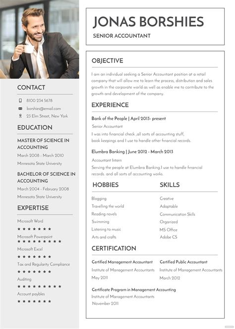 professional banking resume  cv template  psd