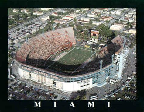 university  miami hurricanes orange bowl football stadium poster