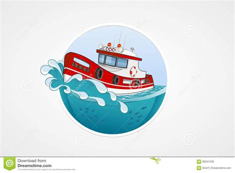 Rescue Boat Icon by Moving Rescue Boat Sea With Wave Vector