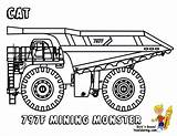 Truck Coloring Construction Pages Dump Trucks Mining Cat Rock Printable Machines Tractors Mighty Yescoloring Boys 797f Colouring Hard Bobcat Vehicles sketch template