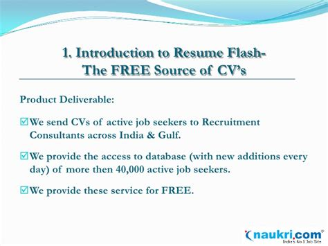 Introduction To A Resume by Introduction To Resume Flash By Naukri