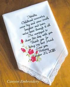 wedding gift best friend embroidered wedding handkerchief With wedding gift for best friend