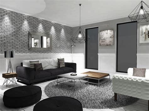 grey black and white living room modern house