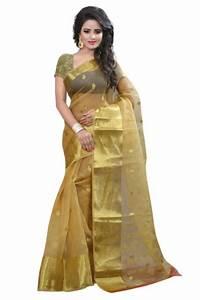 Buy Gold plain Tassar Silk saree with blouse Online