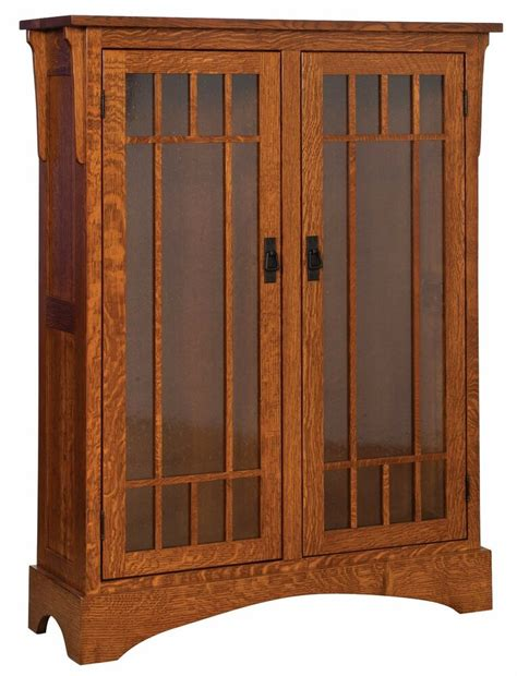 Oak Bookcases With Glass Doors by Amish Midway Mission Craftsman Solid Wood Bookcase Glass