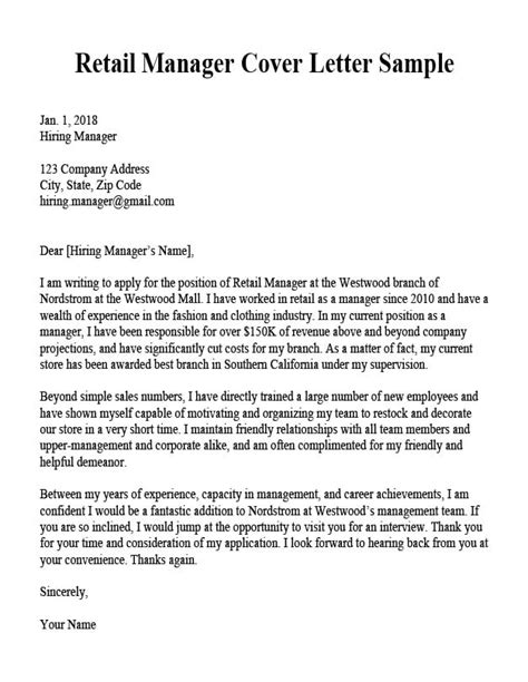 retail manager cover letter sample resume companion