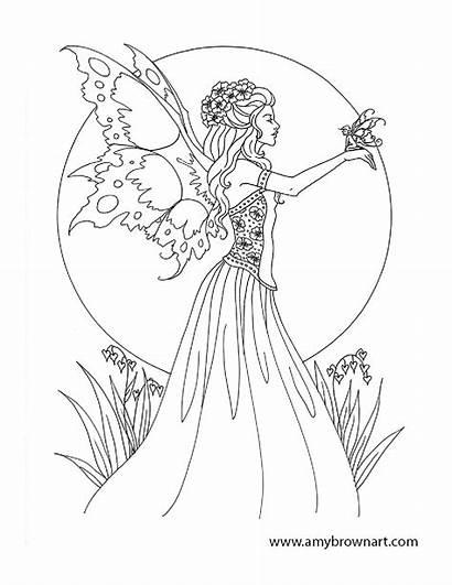 Coloring Printable Adults Dark Fairies Fairy Elf