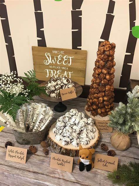 Woodland theme Dessert table with crinkles, Donut ...