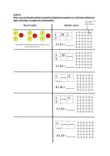 multiplication worksheets using grid method grid method multiplication using concrete pictorial