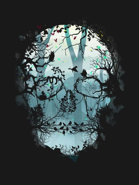 Dark Forest Skull Art Print Forests Spaces Nature