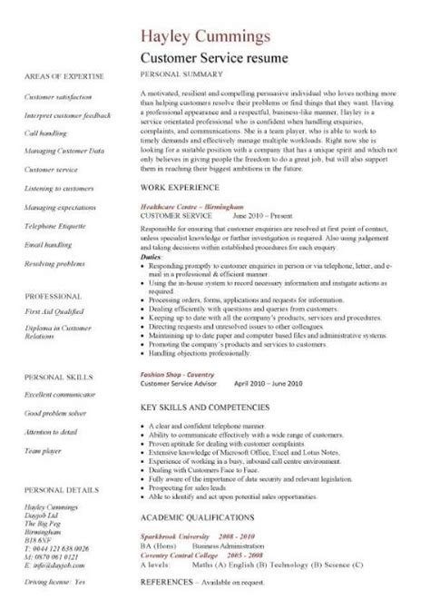 Exles Of Resumes For Customer Service by Customer Service Resume Resume Cv