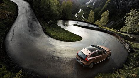 Car, Volvo, Road, Landscape, River, Mountain, Trees
