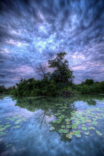 Blue Clouds Amazing World Beautiful Reflection Across