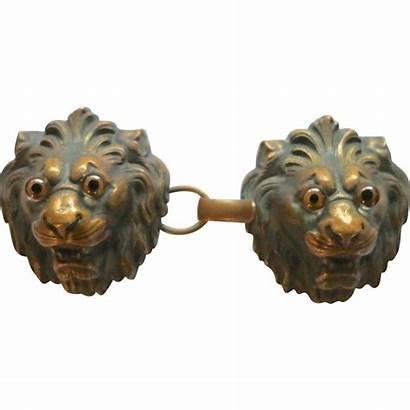 Lion Cloak Cape Clasp Victorian Heads