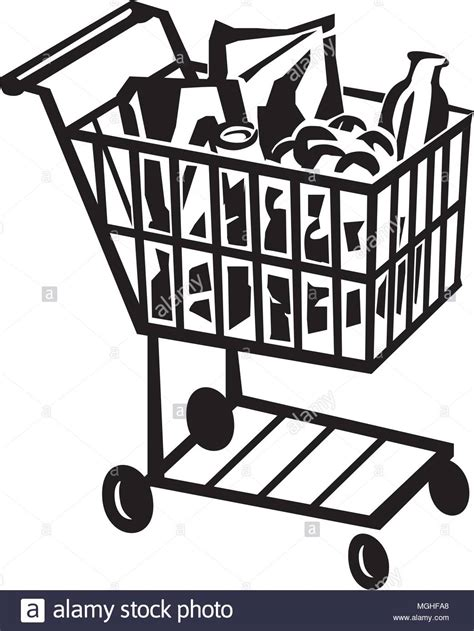 Shopping Cart Clipart Grocery Shopping 1950s Stock Photos Grocery Shopping