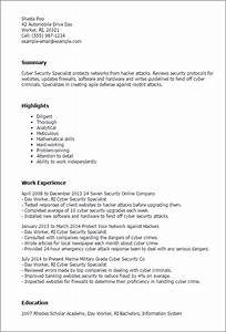 1 cyber security specialist resume templates try them for Cyber security resume examples